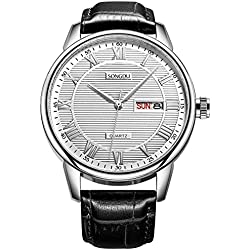 Mens Day Date Wrist Watches with White Dial Roman Numerals black Leather Strap SONGDU