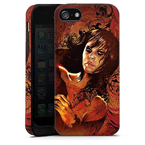 Apple iPhone X Silikon Hülle Case Schutzhülle Frau Gesicht Drache Tough Case matt
