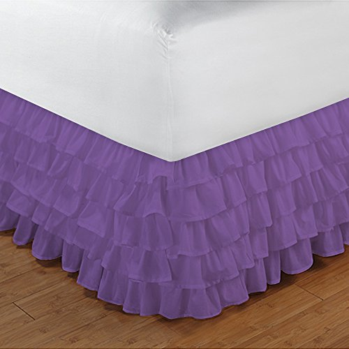 500TC 100% cotone egiziano, finitura elegante 1PCS multi Ruffle Bedskirt Solid (Drop length: 35,6 cm), Cotone, Sage Solid, Euro_Super_King_Extra_Long Purple Solid