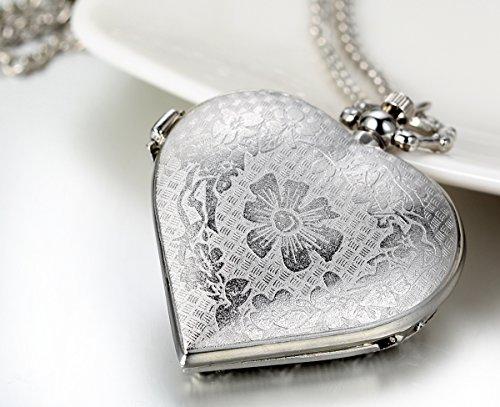 JewelryWe Vintage Pocket Watch,Heart Locket Style Pendant Pocket Watch Necklace for Girls Lady Women
