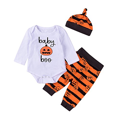 Neugeborene Baby Jungen Mädchen Kürbis Langarm Spielanzug & Hosen & Hut Halloween Kleidung (6-12 Monate, (Kostüme 7 Alte Monate Halloween)