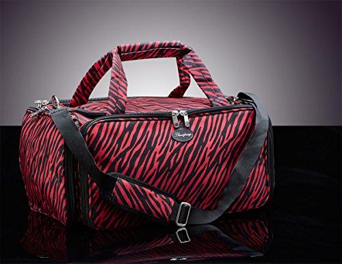 bbeautylounge Rouge et Noir Zèbre Sac Portable Sac Glamour esthéticienne Maquillage Étui à outils