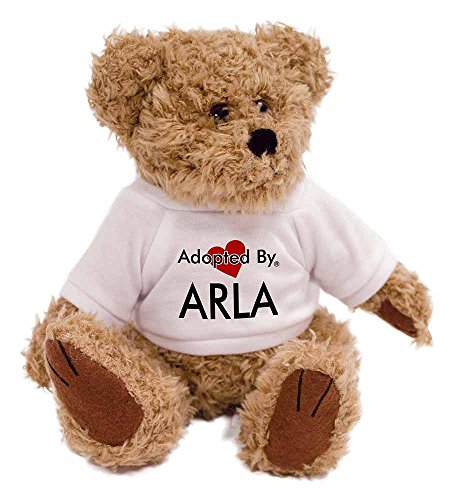 adopted-by-arla-teddy-bear-wearing-a-personalised-name-t-shirt