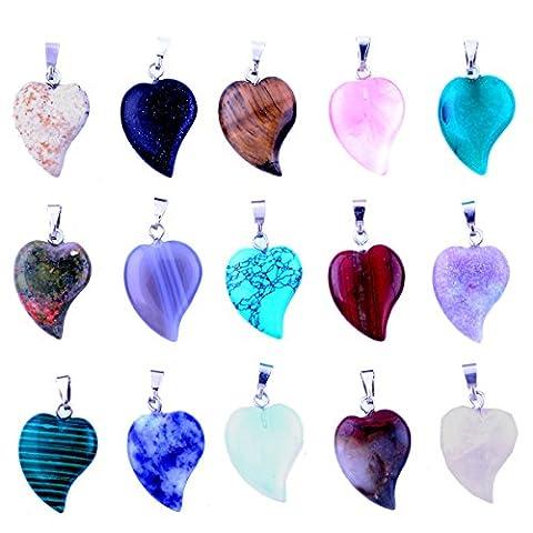 20pcs mixed Random Small Heart Stone Pendants Healing Chakra DIY Crystal Charms Love Heart for Necklace Earring Jewelry Making