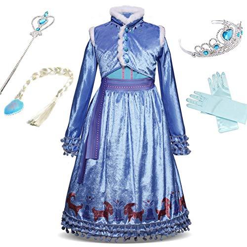 Tinkerbell 3 Kostüm Jahre 2 - IWFREE Mädchen ELSA Kostüm Kleider Prinzessin Kleid Eiskönigin Kostüme Set aus Diadem, Handschuhen, Zauberstab und Zopf, 2-9 Jahre Verkleidung Fasching Halloween