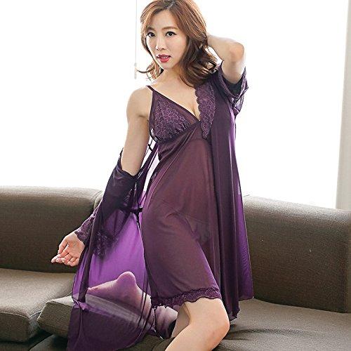 SQDQNUR-estrema tentazione sexy pizzo camicia da notte abito da sposa le donne in lingerie sexy gonna cinturino a tre pezzi,165(L),viola