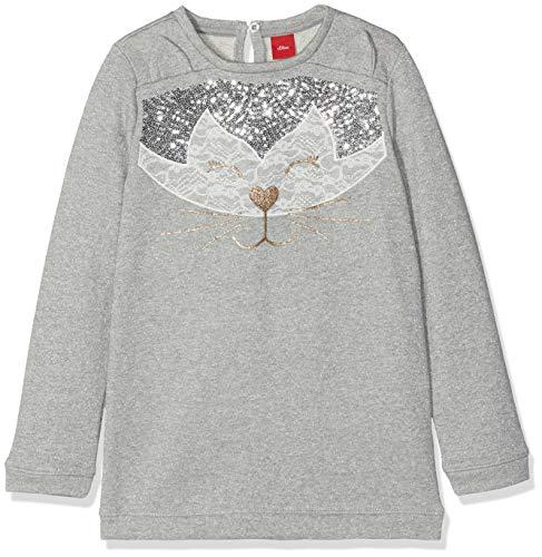s.Oliver Junior Mädchen 53.810.41.4027 Pullover, Grau (Grey Melange Multicolor S 91s0), 128