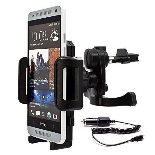 Preisvergleich Produktbild mobilefox® 360° KFZ Lüftungs Halterung Handyhalterung Lüftungsgitter Auto Halterung inkl. KFZ Ladekabel Air Vent Holder Halter für Smartphone HTC One / M9 / M8 / M7 / One Mini / M4 / One mini 2 / One S / One SV / One X / One V / One XL / One MAX (T6) / Desire 500 / Desire 510 / Desire 300 / Desire 310 / Desire C / Desire SV / Desire X