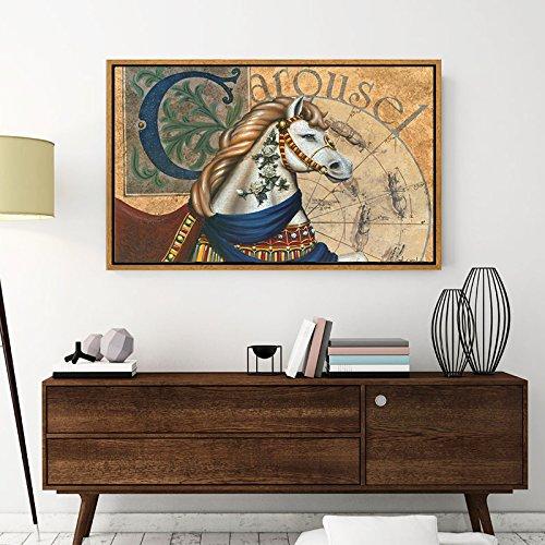Paintsh Malå Europäische Studie Esszimmer Wohnzimmer dekorative Malerei Veranda im Freien Office Gemälde Kunst, 90 * 60 cm (37 mm dick) Bronze Braun Rahmen, DT-004B -