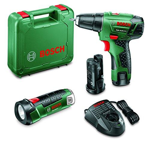 Preisvergleich Produktbild Bosch Bohrer-Akkuschrauber PSR 10,8 LI-2 / 2-aku. + Taschenlampe PLI LI, 603972924