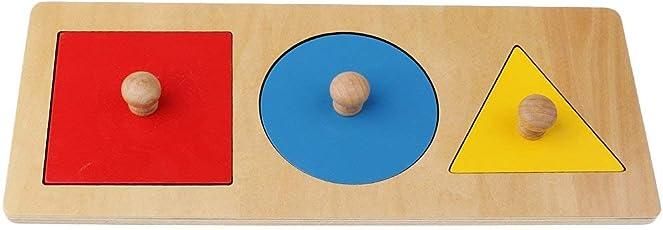 SODIAL 1 Kit Montessori Geometrie in legno- Gioco educativo Giocattolo di apprendimento precoce per Bambino Bebe(Il giro + Triangolo- + Quadrato) 3 colori