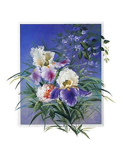 Wouter Roelofs Poster Kunstdruck Bild 2er Set 'Iris in Purple' + 'Flower Arrangement' 60x50cm (Purple Iris-bild)