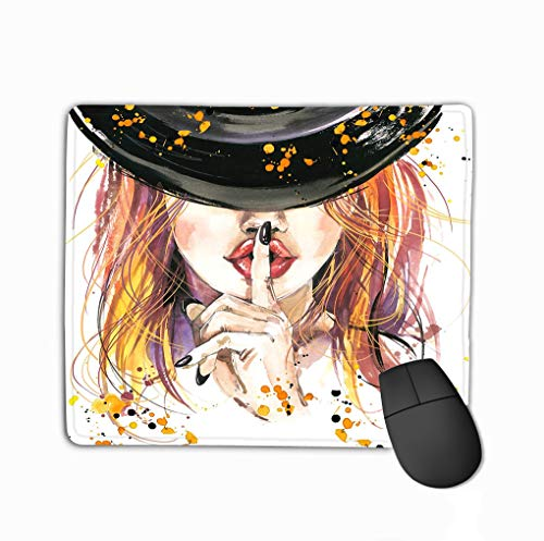 Mouse Pad Girl Witches Halloween Party Poster Holiday Symbols Holiday Text Gorgeous Rectangle Rubber Mousepad 11.81 X 9.84 Inch