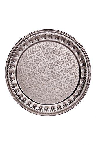 Orientalisches rundes Tablett aus Metall Amana 60cm | Marokkanisches Teetablett rund in de