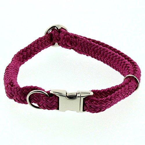 Dinoleine Hunde-Halsband mit Click-Verschluss, Größenverstellbar, Polyester, Größe: M/ 35-55 cm, Magenta, 271107