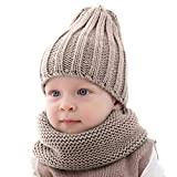 Leyeet Baby Toddler Warm Knitted Hat Neckerchief Set Pure Color Cap Scarf for Boys Girls Winter knit hat cap + scarf