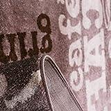 Kaffee Design Teppich Trendig, verschiedene Schriftarten und Muster in Beige ideal für die Lounge oder Küche – ÖKO TEX Zertifiziert, Maße:80×150 cm - 3
