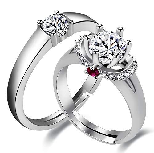 Uloveido 2 stücke Freie Größe Passende Paare Ringe Set Simuliert Diamant Solitaire Ring Mode Hochzeit Verlobungsring Ring Versprechen Junge Mädchen LB024 (Ringe Versprechen Diamant)