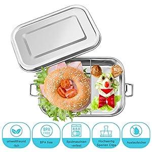 Charminer Brotdose aus Edelstahl,Bento Box Metall Dichte Brotdose Lunchbox,Umweltfreundliche ohne Plastik&BPA,für auslaufsicher 800ML Fassungsvermögen mit Fächern zum Wandern/Reisen/Schule Kinder