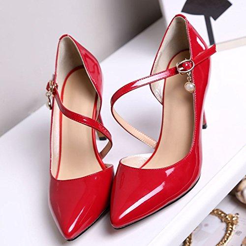 WSS chaussures à talon haut Chaussures à talon pointu peu profond en cuir à talons Red