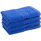 HomeStrap Classic 4 Piece 380 GSM Cotton Hand Towel Set - Blue