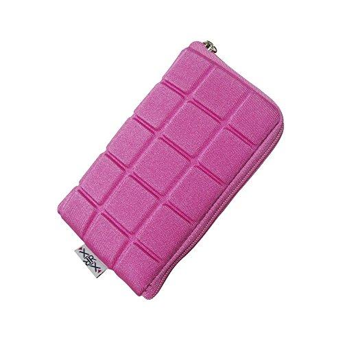 Handytasche mit Reißverschluss und Handschlaufe Größe S passend für Doro 6030 - Emporia Glam - Panasonic KX-329 - Handyhülle pink