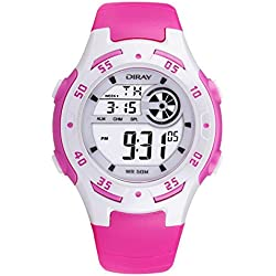 Digital-analog Boys Girls Luminous Sport Digital Watch with Alarm Stopwatch Chronograph - 50m Water Proof(Rose Red)