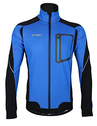 iCreat Mens Cycling Jacket Waterproof Windproof Breathable Lightweight High Visibility Warm Thermal Long Sleeve Jacket MTB Mountain Bike Jacket Blue, SIZE M