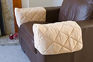 Pair Of Quilted Arm Chair Protectors Furniture Covers Sofa Arms Beige By Healthy Living Direct