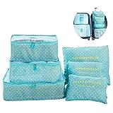 Switty 6pcs viaje bolsas de almacenamiento de ropa que embala maleta de equipaje del viaje en coche Organizador Cubo Azul bolsa Bolsas
