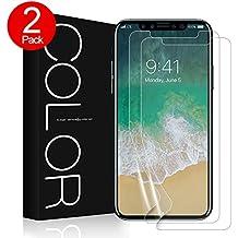 iPhone X Protection écran,G-Color iPhone X[Erreur sans,Bulle sans][Coque compatible]Couverture complète,Non verre trempé film,Protection écran pour Apple iPhone X (2 Pack)