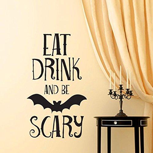 SetMei Halloween-Buchstabe-Wand-Aufkleber-Fenster-Ausgangsdekoration-Abziehbild-Dekor Wandtattoo Wandsticker (Halloween Dekor Bad)