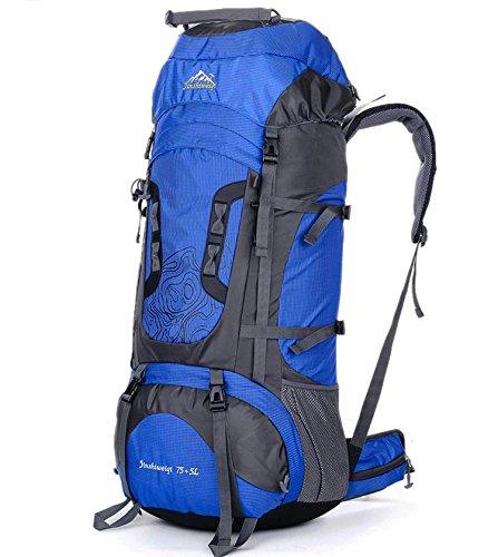 Bergsteigen im Freien Reisetasche 75L Große Kapazität Rucksack Wandern Zelten für Männer und Frauen Tagesblau