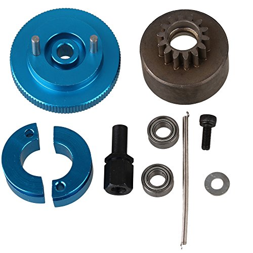 BQLZR Blue Upgrade Aluminum T10095 Clutch Flywheel Set with 2 Bearings for RC1:10 Car