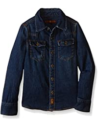 7 For All Mankind Boys' Distressed Denim Long Sleeve Button Down Shirt