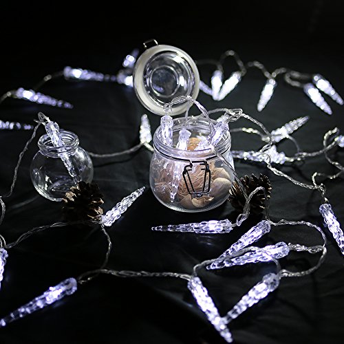 HG® 10M 40 LED Eiszapfen Eisregen Lichternetz Lichterkette Kaltweiß 31V für Weihnachtszeit Party Hochzeit Aussen -