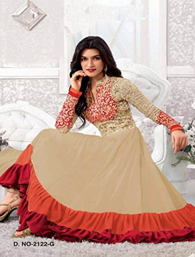 New Heavy Kriti Sanon Cream & Orange Long Length Traditional Anarkali Suits- Free Size (FBA172-2128)