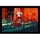 ArtzFolio Vintage Photo Of Flowers And Bicycle - Small Size 12.0 Inch X 8.0 Inch Inside Image & 0.75 Inch Wide Frame - PREMIUM PAPER POSTER With BLACK FRAME & CLEAR ACRYLIC GLASS FRONT : Wall Posters & Wall Paintings : DIGITAL PRINT Wall Art P
