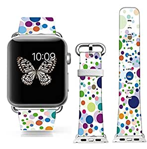 New Apple Watch Band W Metal Clasp, Apple Watch Band Leather Apple Watch Accessories Wristband for Apple Watch & Sport & Edition (metal 42mm) Colorful polka dots