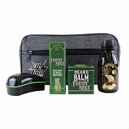 HEY JOE - Bearded Survival KIT Deluxe Nº 7 | Kit de arreglo barbas que incluye: aceite, balsamo, champú, cepillo para barba y neceser de regalo
