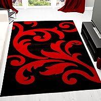 VIMODA Moderno Tappeto Design,salotto e camera da letto,fiori,taglio contorno,nero-rosso ÖKO