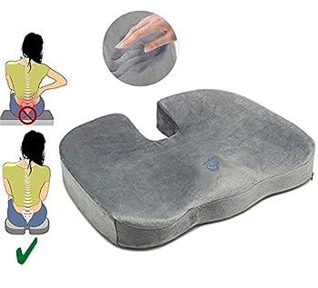 Coussin Orthopédique Coccyx | Mousse à mémoire de forme pour Assise Coussin | Soulage douleur Coussin de Siège pour sciatique, auto, voiture, bureau, voyages et fauteuil roulant | Chaise coussin | 100% GARANTIE et LIVRAISON GRATUITE