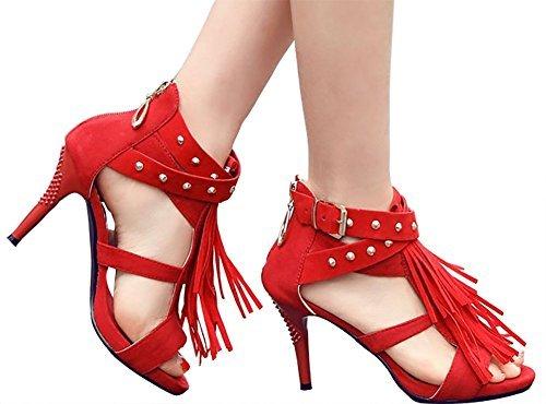 Odema Sandali di cintura della caviglia delle rivive di Fringe della camicia di delle donne Rosso