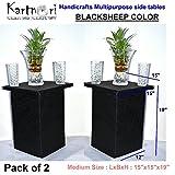 #6: Pack of 2 - KartnOri Handicrafts BLACKSHEEP Multipurpose MEDIUM side tables for drawing , dining , living room as center , bedside , sofa side end tables (LxBxH : 15