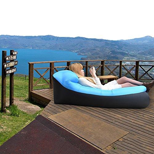 iRegro wasserdichtes aufblasbares Sofa mit integriertem Kissen, tragbarer aufblasbarer Sitzsack, Aufblasbare Liegecouch, aufblasbares Outdoor-Sofa für Camping, Park, Strand, Hinterhof (blauschwarz) - 6