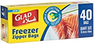 Glad® Zipper Food Storage Freezer Bags - Quart - 40 Count