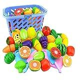Kentop - Set per tagliare frutta e verdura, per bambini, in plastica, con cestino e taglieri