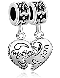 Pugster Heart Mother Son Family Dangle Spacer Bead Fits Pandora Charms Bracelet