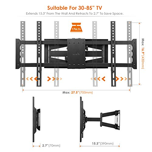 SIMBR Support Mural TV Orientable Inclinable Double Bras Pivotant ... 17203e1fc5cf