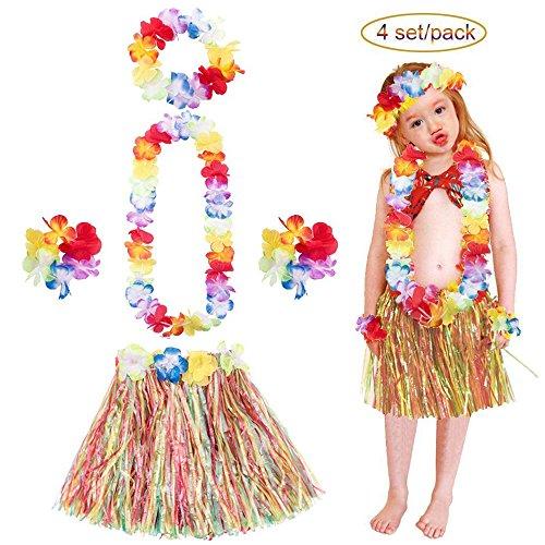 urz Hula Grass Kostüm Set von 5 Stück: 4 Rock + 4 Stirnband + 8 Armband + 4 Halskette Girlande Mädchen Zubehör Verkleidung Bastrock Luau Strand Beach Party Tanzen LONGBLE (Hawaii-stirnband)